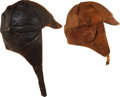 Military & Patriotic:WWI, Pair of Early Leather Aviator's Flying Helmets.... (Total: 2 Items)
