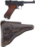 "Military & Patriotic:WWII, Mauser Banner Model P-08 1940-Dated Police Luger. Cal. 9mm. Serial Number 3409x, 4"" Barrel...."