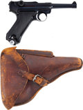 """Military & Patriotic:WWII, Mauser byf 41 Luger and Holster. Cal. 9mm. Serial Number 979s, 4"""" Barrel...."""