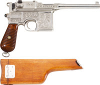 "Engraved Early Mauser 1930 Commercial Broomhandle and Holster/Stock. Cal. 7.63mm. Serial number 831214, 5.2"" Stepp..."