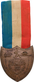 "Military & Patriotic:Pre-Civil War, Mexican War Veteran's Medal/ Shield Inscribed on the Verso to ""Ezra N. De Pew/ 1st Drag.""..."