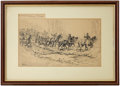 "Antiques:Decorative Americana, Civil War: Original Pen and Ink Drawing ""Over the Corduroy Road"" by Isaac Walton Taber.. ..."