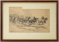 "Civil War: Original Pen and Ink Drawing ""Over the Corduroy Road"" by Isaac Walton Taber"