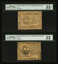 Colonial Notes:Continental Congress Issues, Continental Currency November 2, 1776 $7 and February 26, 1777 $30PMG About Uncirculated 53.... (Total: 2 notes)