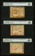 Colonial Notes:Continental Congress Issues, Continental Currency January 14, 1779 $30, $65, and $80 PMGExtremely Fine 40.... (Total: 3 notes)