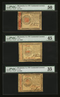 Colonial Notes:Continental Congress Issues, Continental Currency January 14, 1779 $35, $60, and $70.... (Total: 3 notes)