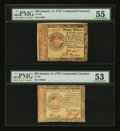 Colonial Notes:Continental Congress Issues, Continental Currency January 14, 1779 $20 and $55 PMG AboutUncirculated.... (Total: 2 notes)
