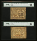 Colonial Notes:Continental Congress Issues, Continental Currency November 29, 1775 $2 and $3 PMG ExtremelyFine.... (Total: 2 notes)