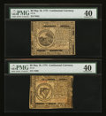 Colonial Notes:Continental Congress Issues, Continental Currency May 10, 1775 $6 and $8 PMG Extremely Fine40.... (Total: 2 notes)
