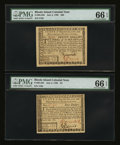 Colonial Notes:Rhode Island, Rhode Island July 2, 1780 $4 and $20 PMG Gem Uncirculated 66EPQ.... (Total: 2 notes)