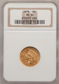 Three Dollar Gold Pieces: , 1878 $3 MS62 NGC. NGC Census: (906/1301). PCGS Population(1022/1784). Mintage: 82,304. Numismedia Wsl. Price for problemf...