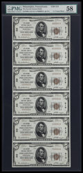 National Bank Notes:Pennsylvania, Philadelphia, PA - $5 1929 Ty. 1 The Second NB Ch. # 213 UncutSheet. ...