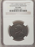 Colonials: , 1791 1C Washington Large Eagle Cent VG8 NGC. NGC Census: (1/35).PCGS Population (1/164). (#702)...