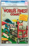 Golden Age (1938-1955):Superhero, World's Finest Comics #13 (DC, 1944) CGC FN+ 6.5 Off-white to white pages....