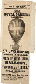Transportation:Aviation, Aviation: 1850 Advertising Poster for an Assent by Female AeronautMargaret Graham in the Balloon Victoria and Albert....