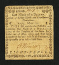 Colonial Notes:Rhode Island, Rhode Island May 22, 1777 $1/9 Very Fine....