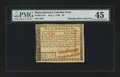 Colonial Notes:Massachusetts, Massachusetts May 5, 1780 $4 PMG Choice Extremely Fine 45....