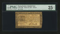 Colonial Notes:Pennsylvania, Pennsylvania March 16, 1785 9d PMG Very Fine 25 Net....