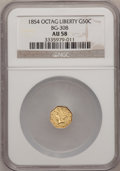 California Fractional Gold: , 1854 50C Liberty Octagonal 50 Cents, BG-308, R.4, AU58 NGC. NGCCensus: (3/13). PCGS Population (29/72). (#10428)...