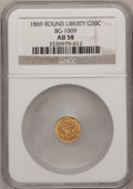 California Fractional Gold, 1869 50C Liberty Round 50 Cents, BG-1009, R.5, AU58 NGC. NGCCensus: (2/4). PCGS Population (3/28). (#10838)...