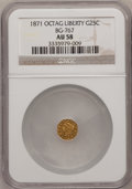California Fractional Gold: , 1871 25C Liberty Octagonal 25 Cents, BG-767, R.3, AU58 NGC. NGCCensus: (5/39). PCGS Population (33/136). (#10594)...