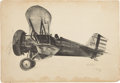 Military & Patriotic:WWI, Original Clayton Knight Signed Charcoal Drawing of a Boeing P-12Biplane, Circa 1930....