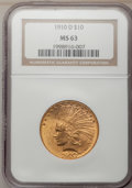 Indian Eagles: , 1910-D $10 MS63 NGC. NGC Census: (1655/985). PCGS Population(1827/679). Mintage: 2,356,640. Numismedia Wsl. Price for prob...