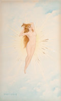 Pin-up and Glamour Art, GEORGES LEFEBVRE (French, 19th Century). Heavenly Nude.Watercolor on board. 21.75 x 13.5 in.. Signed lower left. ...