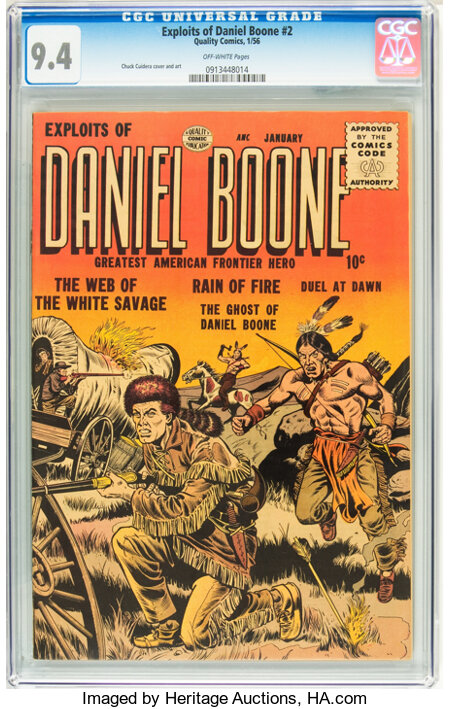 Exploits of Daniel Boone #2 (Quality, 1956) CGC NM 9.4 Off-white pages....