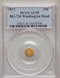 California Fractional Gold, 1872 25C Washington Octagonal 25 Cents, BG-724, High R.6, AU55PCGS....