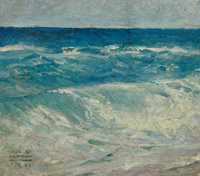 WILLIAM HENRY DETHLEF KOERNER (American, 1878-1938) Seascape, 1921 Oil on canvas 13.5 x 15.5 in.<