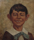 Mainstream Illustration, AMERICAN ARTIST (20th Century). A Missing Tooth. Oil oncanvas. 14.25 x 12.25 in.. Not signed. ...