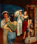 Pulp, Pulp-like, Digests, and Paperback Art, HERBERT TAUSS (American, 1929-2001). Sailor's Weekend, paperbackdigest cover, 1952. Oil on board. 22.5 x 19.5 in.. Sign...