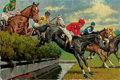 Mainstream Illustration, ARTHUR SARON SARNOFF (American, 1912-2000). Steeple Chase.Oil on canvas. 24 x 36 in.. Signed lower left. ...