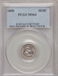 Seated Half Dimes: , 1850 H10C MS64 PCGS. PCGS Population (38/40). NGC Census: (60/49).Mintage: 955,000. Numismedia Wsl. Price for problem free...