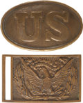 Military & Patriotic:Civil War, Two Very Nice Identified Civil War Accouterment Plates.... (Total: 2 Items Items)
