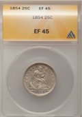 Seated Quarters, 1854 25C Arrows XF45 ANACS. PCGS Population (38/369). NGC Census:(33/368). Mintage: 12,380,000. Numismedia Wsl. Price for ...