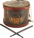 Military & Patriotic:Civil War, Paint-Decorated Civil War Snare Drum with Great Period ID to the 5th Maryland Inf. ...