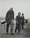 Military & Patriotic:WWI, Original Print Made from Glass Negative of Charles Lindbergh atEast Boston Airport, Circa 1929....