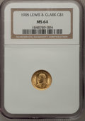 Commemorative Gold: , 1905 G$1 Lewis and Clark MS64 NGC. NGC Census: (379/182). PCGSPopulation (706/300). Mintage: 10,000. Numismedia Wsl. Price...