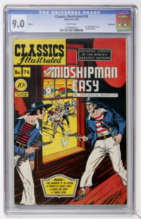Classics Illustrated #74 Mr. Midshipman Easy First Edition - Vancouver pedigree (Gilberton, 1950) CGC VF/NM 9.0 White pa...