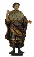Fine Art - Sculpture, European:Antique (Pre 1900), A German Polychrome Figure of a Man. . Unknown maker, SouthGermany. 19th century. Wood with polychrome paint. Unmarked...