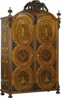 Furniture : Continental, A Pair of Mid-Nineteenth Century German Walnut Veneered MarquetryWardrobes With Applied Carvings. . John Falconer Slater (B...(Total: 2 Pieces)