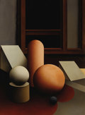 Fine Art - Painting, American:Contemporary   (1950 to present)  , Dimiter Buyukliiski Mitchy (Bulgarian, born 1943). .Interior II. Undated. Oil on canvas. Initialed lowerright,...