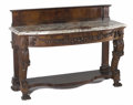 Furniture : Continental, A Continental Marble-Topped Walnut Console With FriezeDrawer-Table. Unknown maker, possibly Italian. Last quarter 19thce...