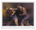 Boxing Collectibles:Autographs, Joe Louis and Max Schmeling Signed Lithograph. Here we present an exceptional lithograph depicting one of the most famous b...