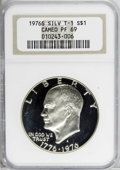 Proof Eisenhower Dollars: , 1976-S $1 Silver PR69 NGC. NGC Census: (11/0). PCGS Population(2/0). Mintage: 4,000,000. Numismedia Wsl. Price for NGC/PCG...