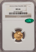 Commemorative Gold, 1915-S G$1 Panama-Pacific Gold Dollar MS66 NGC. CAC....