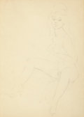 Pin-up and Glamour Art, FRITZ WILLIS (American, 1907-1979). Nude sketch. Graphite onpaper. 15.5 x 11 in.. Not signed. ...