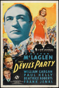 "Movie Posters:Crime, The Devil's Party (Universal, 1938). One Sheet (27"" X 41""). Crime....."